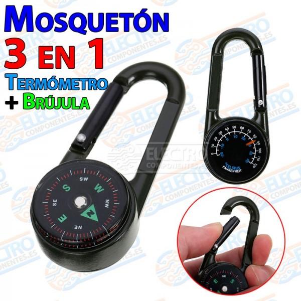 Mosqueton 3 en 1 con brujula y termometro senderismo supervivencia Clip Hook